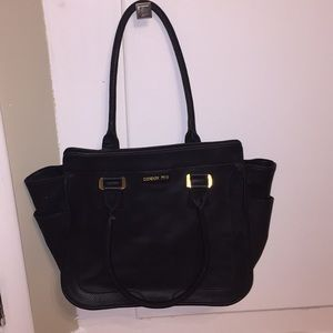 London Fog black leather handbag