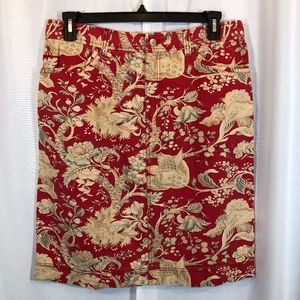 Pendleton Red Floral Print Cotton Pencil Skirt, 14