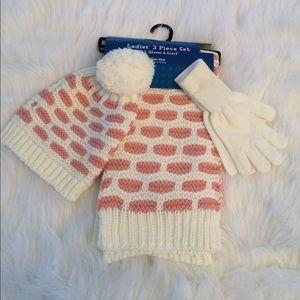 Accessories - Ladies 3 Piece Hat, Gloves and Scarf Set