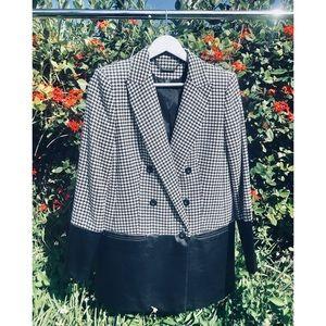 Rachel Zoe Huxley Houndstooth/ Leather Jacket M/L