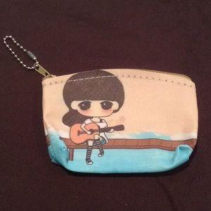 Accessories - Cute girl playing guitar coin purse