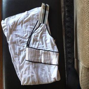Cream empire waist dress with black piping