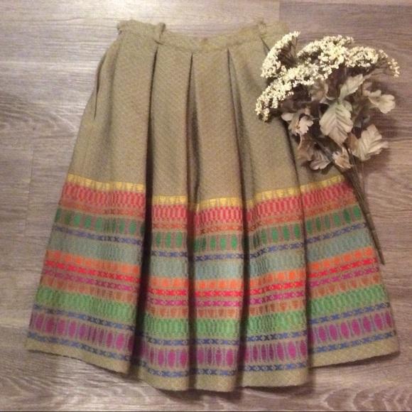 Vintage Dresses & Skirts - 🍂 Amazing vintage rainbow wool high waisted skirt
