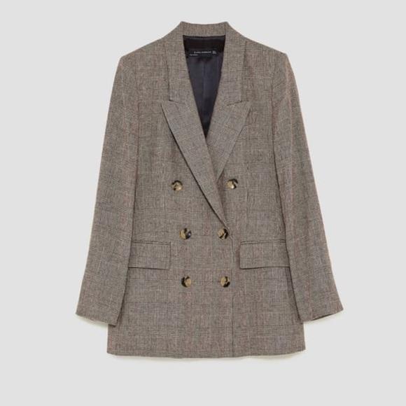 42cea698 Zara Jackets & Coats | Checked Double Breasted Jacket | Poshmark