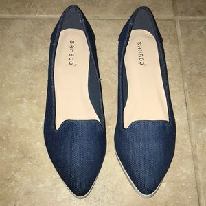 New Denim Bamboo Pointed Flats Sz 6.5