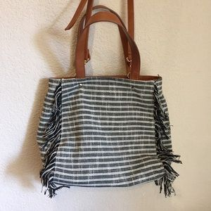 Sole society fringe striped crossbody tote bag