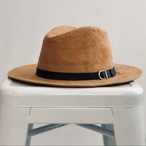 Camel Wide Brim Fedora Hat