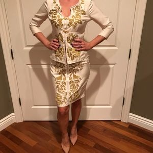 100% silk cream&gold skirt suit by Tracy Reese.