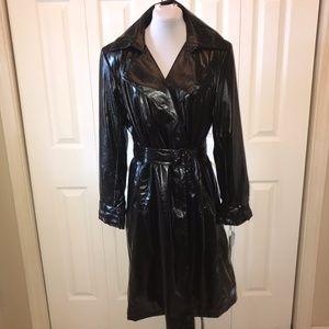 NWT Calvin Klein Belted Trench Rain Coat M BLACK