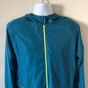 Turquoise Blue and Neon Yellow Windbreaker
