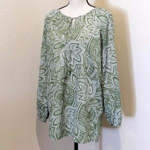 Michael Kors Green and White Blouse Size M