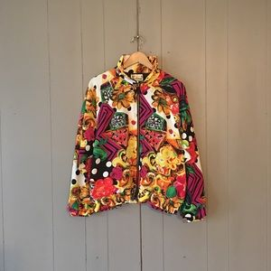 🌙 Vintage Colorful Polka Dot Floral Windbreaker