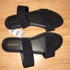 brand new black two strap sandals