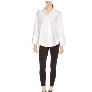 Halston oversized white button down shirt, size XS