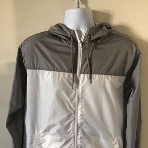 Gray and White Colorblock Windbreaker