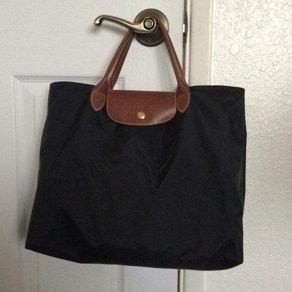 Longchamp Handbags - Longchamp Black Nylon Tote, Le Pliage