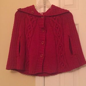 Gymboree red sweater poncho size 7-8