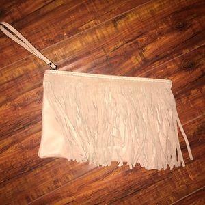 BCBGeneration Fringe Mauve Clutch Bag