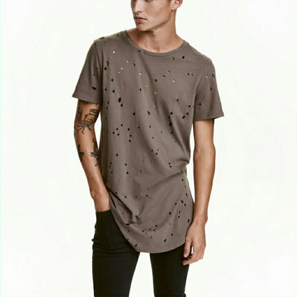 aff259ab4 H&M Shirts   Hm Divided Long Destroyed Hole Tee Shirt   Poshmark