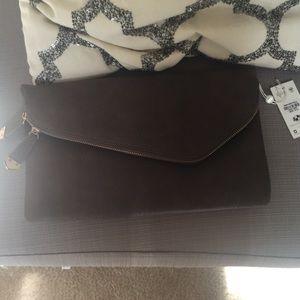 NWT Dark Grey Envelope Clutch Purse