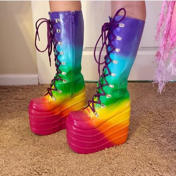 25285c176e5 Rainbow platform boots rave festival gogo shoes. M 5a25dc6dc6c795091d0e5845