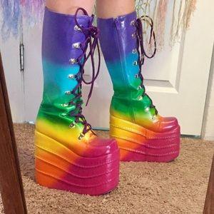 fa333a44132 Shoes - Rainbow platform boots rave festival gogo shoes