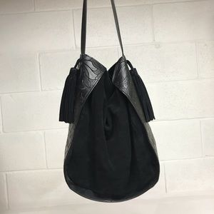 Black suede and leather hobo bag