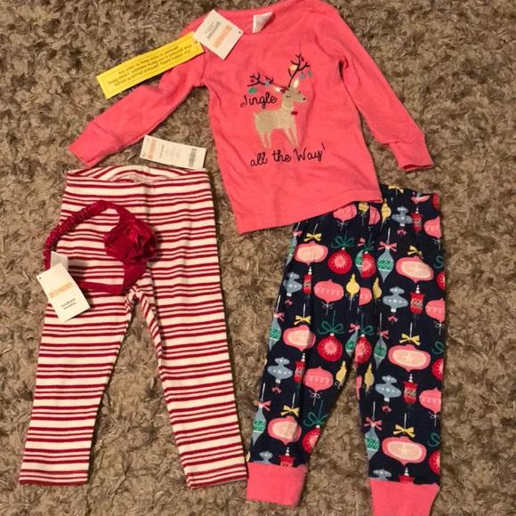 gymboree nwt christmas pajamas and headband