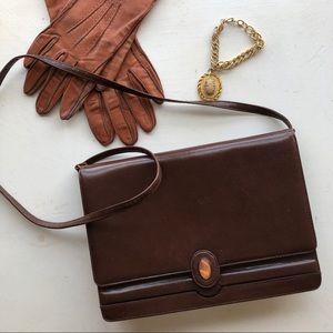 Saks vintage brown leather crossbody purse/clutch