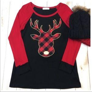 Tops - Red & Black Plaid Reindeer Tunic