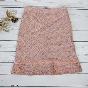 GAP • pink wool blend tweed straight skirt