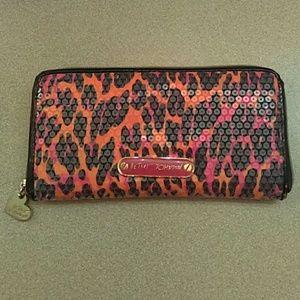 Betsey Johnson Leopard Print Sequin Wallet