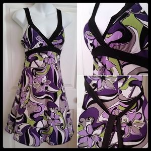 NWT Beautiful Purple Flower Print DRESS NEW