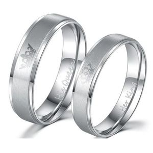 Her King His Queen Stainless Steel Wedding Rings