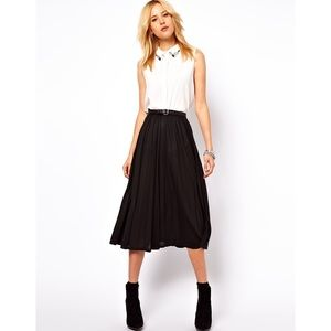 ASOS Black Pleated Jersey Midi Skirt