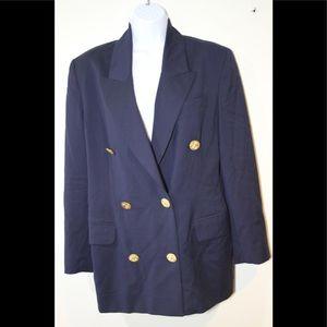Michael Kors Blazer 100% Wool Size 6 Navy Blue,