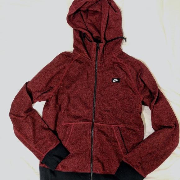 43b374ce2529 Men s Dark Red Marled Cotton Nike Hoodie