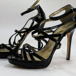 Saks Fifth Avenue Strappy Black Leather Sandals
