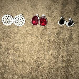 Trio of stud earrings