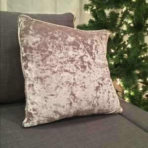 Silver velour throw pillow