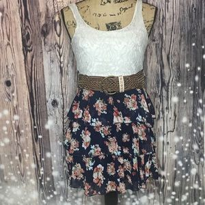 Small White Lace/Blue Floral Dress(Rue 21)