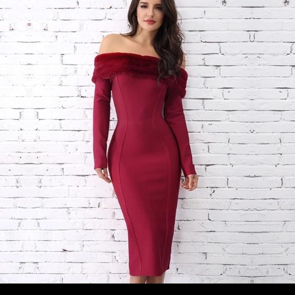 2d81d0aba473 Dresses   Skirts - NWT off shoulder detachable faux fur Bandage dress