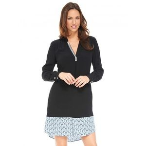 Hatley Black Long Sleeve Shirt Dress Turquoise Hem