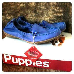 Cobalt leather suede Hush Puppies Moccasin Loafers