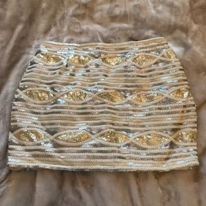 Gold and Silver Sequin Mini Skirt Small TOBI