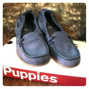 Navy Suede Leather Moccasin Loafers