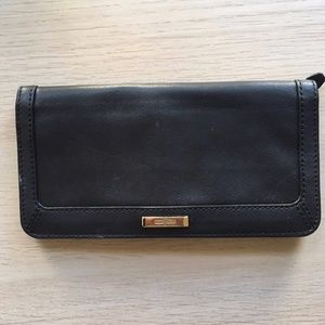 Cole Haan Black Leather Wallet Gold Hardware