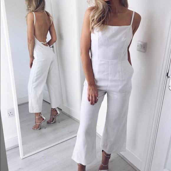 d875bc21071 Pretty Lavish Linen Backless Culotte Jumpsuit