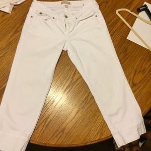 Banana Republic White Cuffed Crop Pants SZ 6