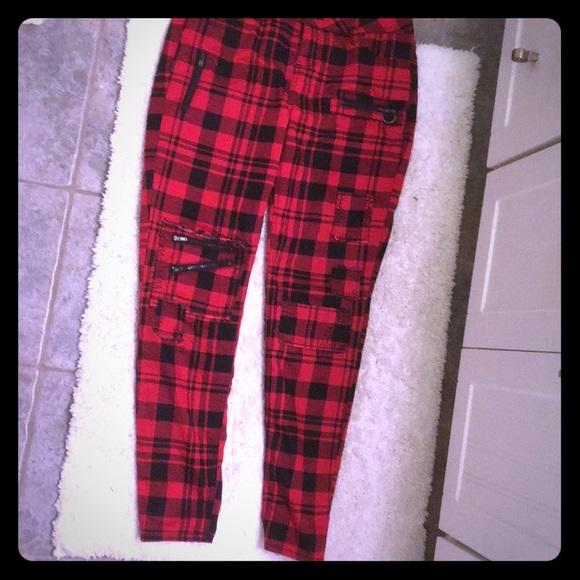 3eedd82f562 black heart Pants - Red emo plaid skinny jeans